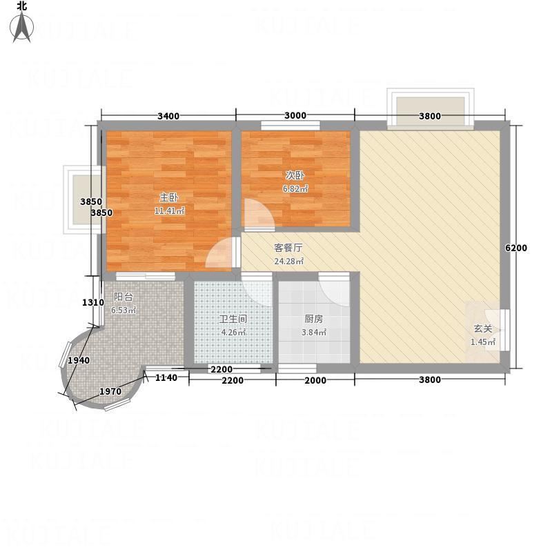 悦园豪庭77.80㎡P5户型2室2厅1卫1厨