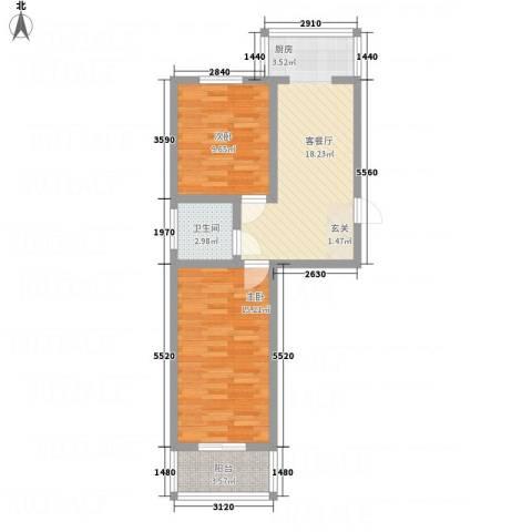幸福苑2室1厅1卫0厨58.00㎡户型图