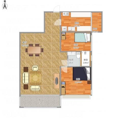 逸翠园2室1厅1卫1厨108.00㎡户型图