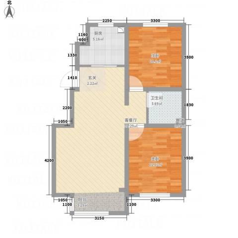 恒瑶・水韵城2室1厅1卫1厨88.00㎡户型图