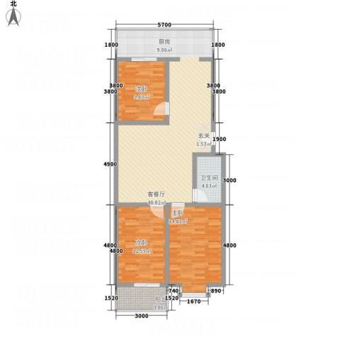 宝嘉龙庭3室1厅1卫0厨85.94㎡户型图