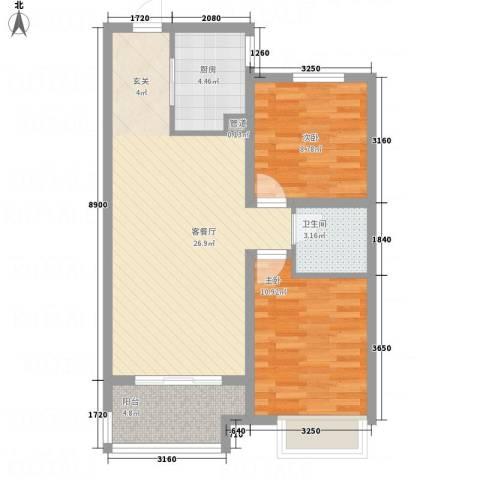 兴业春天二、三期2室1厅1卫1厨85.00㎡户型图