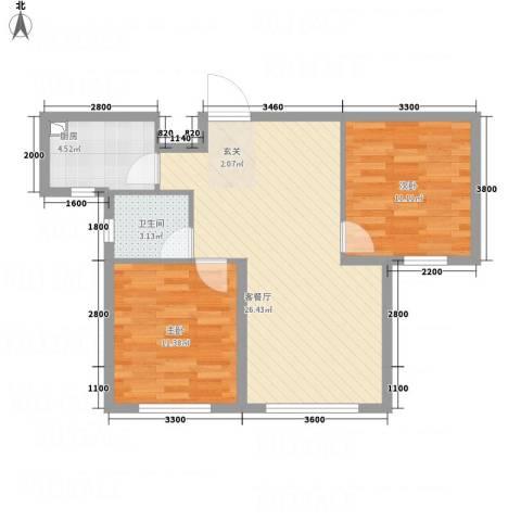 恒瑶・水韵城2室1厅1卫1厨56.55㎡户型图