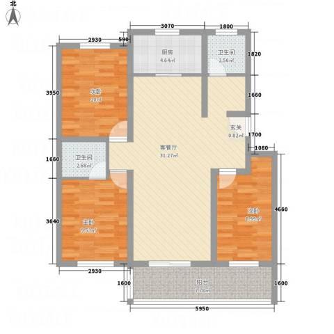 雅阁花园3室1厅2卫1厨112.00㎡户型图