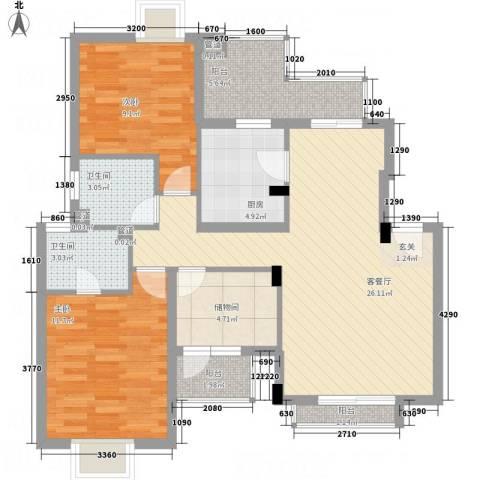 国信世家2室1厅2卫1厨104.00㎡户型图