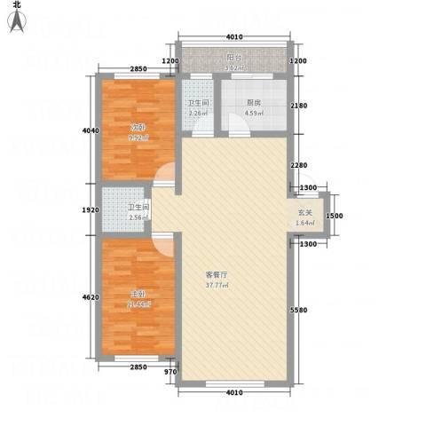 新月花园2室1厅2卫1厨104.00㎡户型图