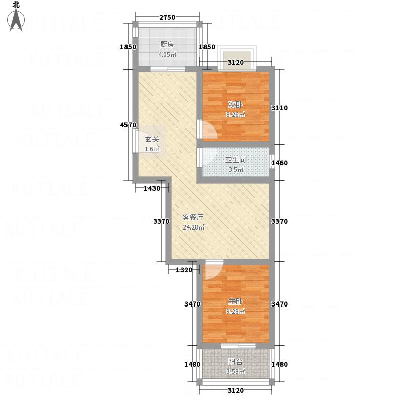 盘龙苑二期77.80㎡02户型2室1厅1卫1厨
