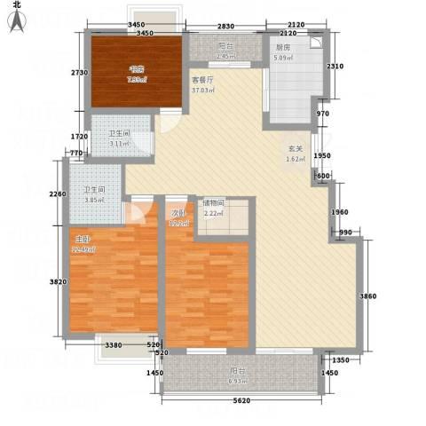 金田雅居3室1厅2卫1厨136.00㎡户型图