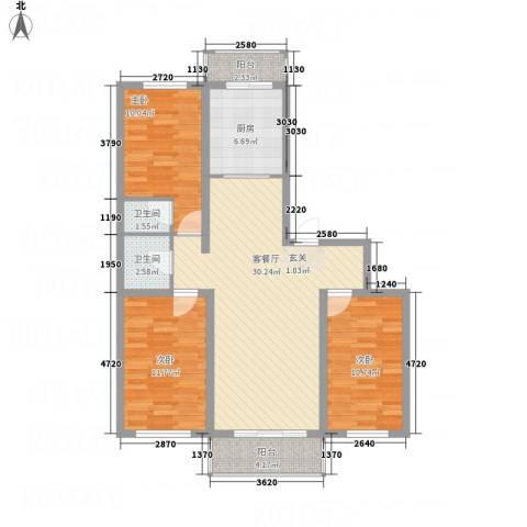 凯旋花园3室1厅2卫1厨116.00㎡户型图