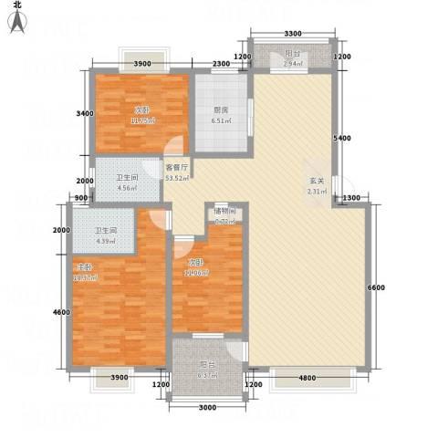 海逸花园3室1厅2卫1厨120.18㎡户型图