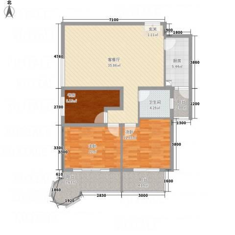 悦园豪庭3室1厅1卫1厨90.29㎡户型图