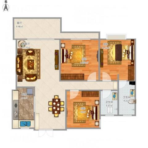 江南翡翠3室2厅2卫1厨122.00㎡户型图