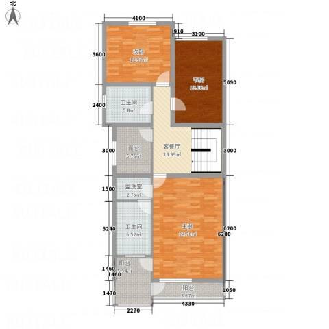 东方之珠凤栖苑3室2厅2卫0厨136.00㎡户型图