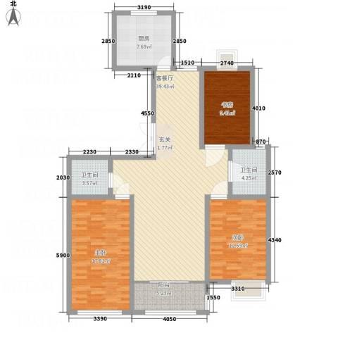 东方公寓二期3室1厅2卫1厨145.00㎡户型图