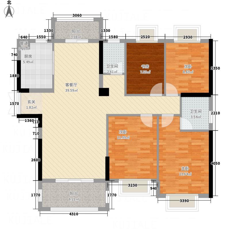 三盛海德公园1481145.25㎡148#01户型4室2厅2卫1厨