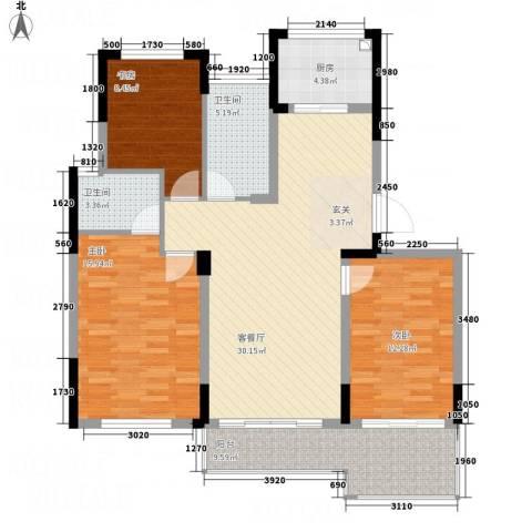 元丰苑3室1厅2卫1厨127.00㎡户型图
