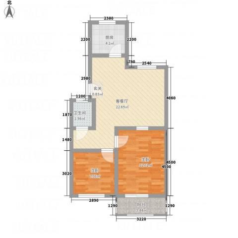 丰禾新家园2室1厅1卫1厨76.00㎡户型图
