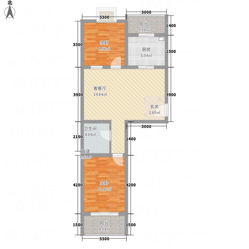 御景苑2.00㎡户型2室2厅1卫1厨