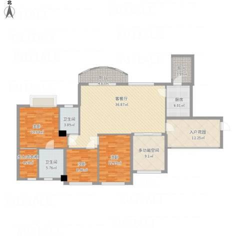君汇华庭3室2厅3卫1厨170.00㎡户型图