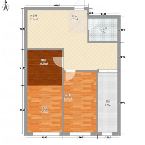 福佳新都市2室1厅1卫1厨83.00㎡户型图