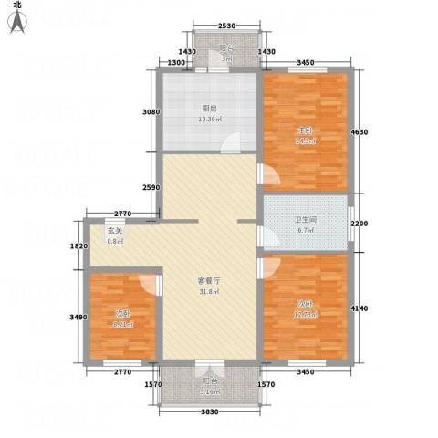 阳光育博苑3室1厅1卫1厨92.29㎡户型图