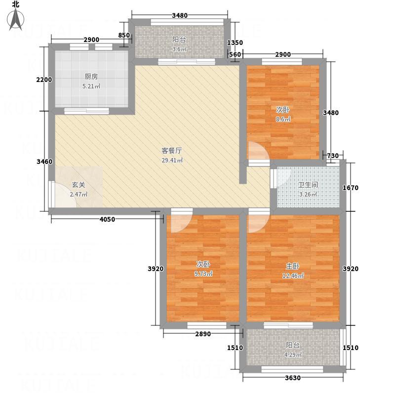 江北绿城111.00㎡G1户型3室1厅1卫1厨