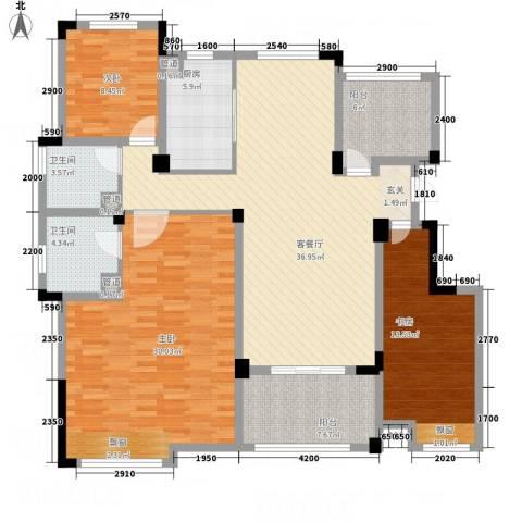 金鹏・爱丽舍宫3室1厅2卫1厨144.00㎡户型图