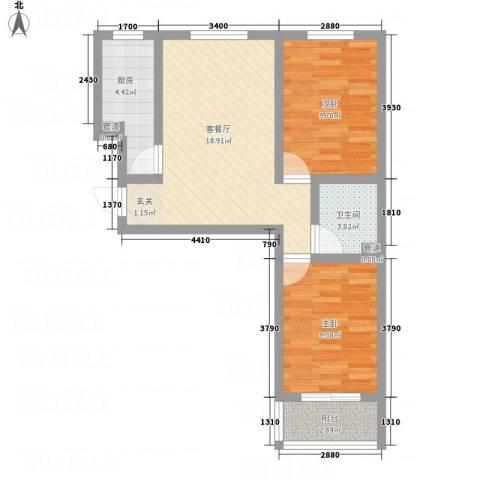 邵村家园2室1厅1卫1厨72.00㎡户型图