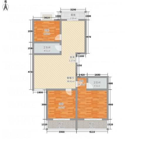 中铁绿洲3室1厅2卫1厨95.93㎡户型图