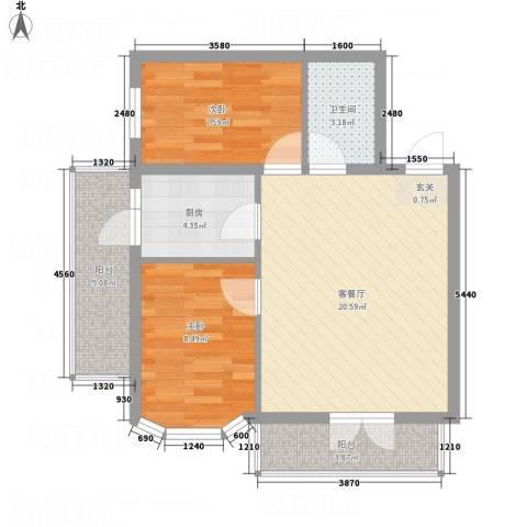 阳光育博苑2室1厅1卫1厨76.00㎡户型图