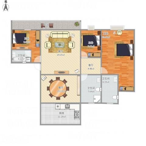 银河丽湾1723室3厅3卫1厨161.00㎡户型图