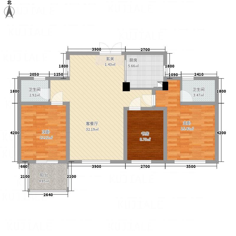 城东湖公馆116.51㎡平层N户型3室2厅2卫1厨