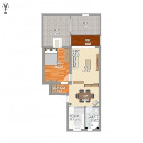 丰庄十四街坊2室1厅1卫1厨91.00㎡户型图