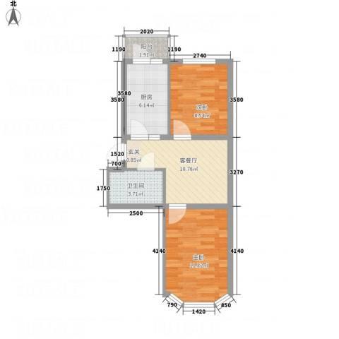 阳光育博苑2室1厅1卫1厨62.00㎡户型图