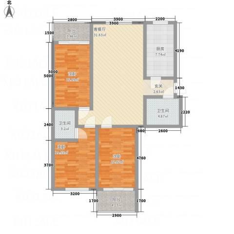 金典8号3室1厅2卫1厨131.00㎡户型图