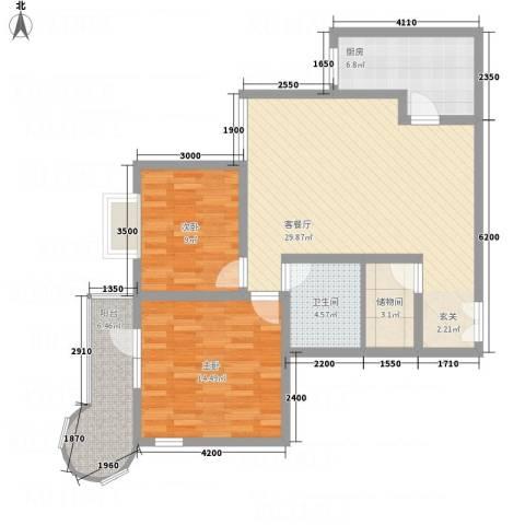悦园豪庭2室1厅1卫1厨74.28㎡户型图