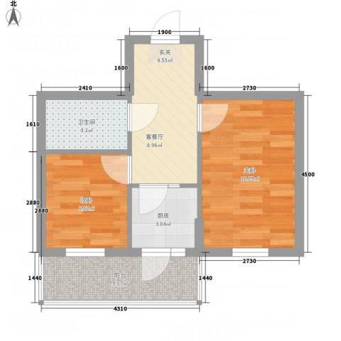 阳光育博苑2室1厅1卫1厨51.00㎡户型图