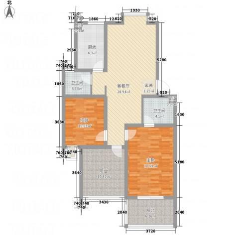 邵村家园2室1厅2卫1厨125.00㎡户型图