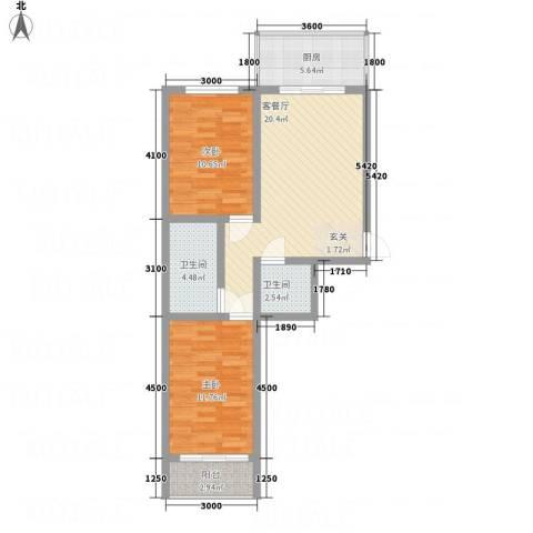 金典8号2室1厅2卫1厨58.40㎡户型图