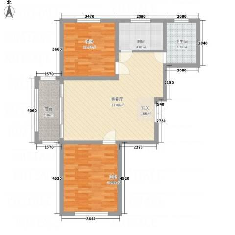 城市假日花园2室1厅1卫1厨67.36㎡户型图