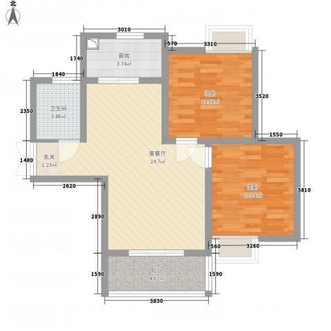 佳腾大厦2室1厅1卫1厨84.00㎡户型图