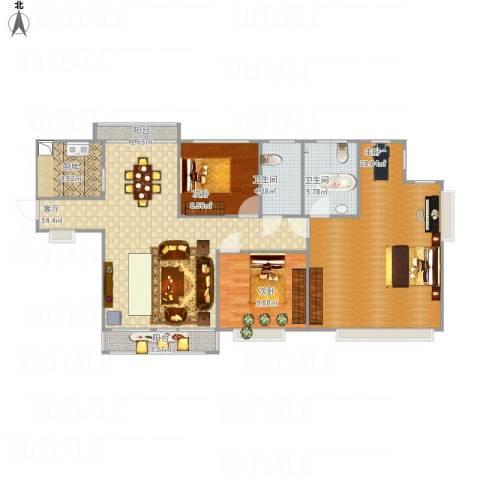 隆盛福隆花园3室1厅2卫1厨137.00㎡户型图
