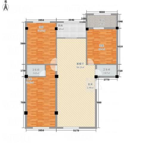 龙清花园3室1厅2卫1厨145.04㎡户型图