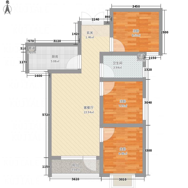 龙门印象城B户型3室2厅1卫1厨