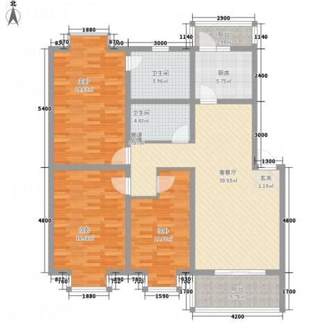 唐都温泉花园3室1厅2卫1厨147.00㎡户型图