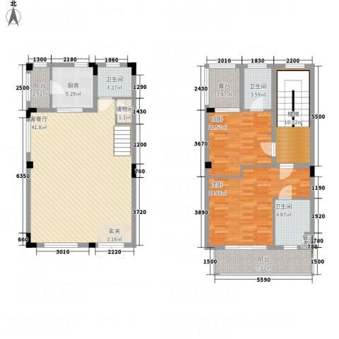 顺德碧桂园蓝城2室1厅3卫1厨161.00㎡户型图