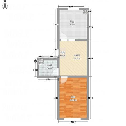 东花园河南1室1厅1卫1厨42.88㎡户型图