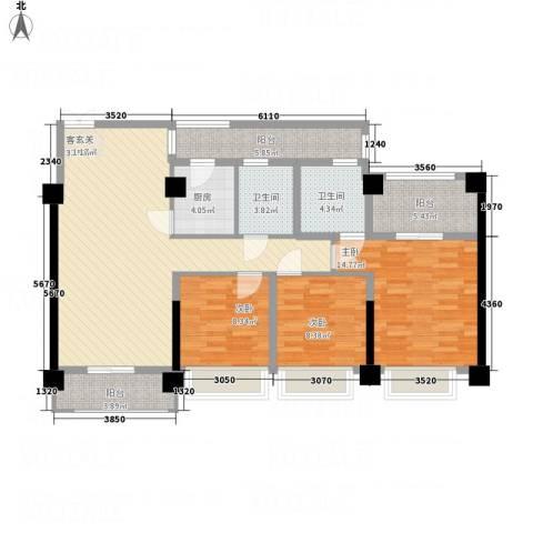 君临天下3室1厅2卫1厨91.44㎡户型图