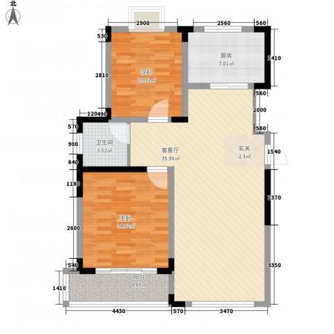 富海城市印象2室1厅1卫1厨109.00㎡户型图