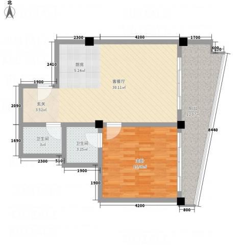 新华公寓1室1厅2卫0厨91.00㎡户型图